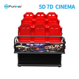 चीन Metal Screen 7d Simulator Cinema 6 / 9 Seats With Wind Effects Electric System फैक्टरी
